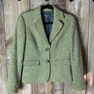 Ann Taylor Pea Green Tweed Blazer Jacket Size 4
